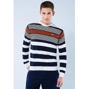 Pull Lacoste Homme Col rond Manches Longue Rayures Blanc Magasin Paris
