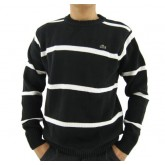 Pull Lacoste Homme Col rond Manches Longue Rayures Noir Boutique