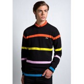 Pull Lacoste Homme Col rond Manches Longue Rayures Noir Pas Cher