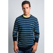 Pull Lacoste Homme Col rond Rayures Bleu Soldes Pas Cher