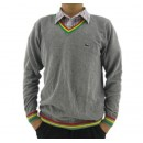 Pull Lacoste Homme Col V Gris Pures Couleurs Achat Pas Cher