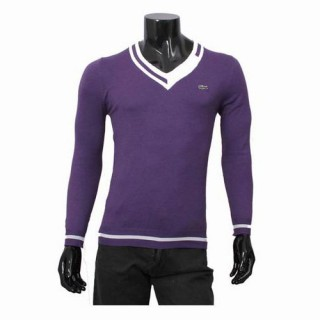 Pull Lacoste Homme Col V Manches Longue Pourpre Pas Cher Solde