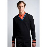 Pull Lacoste Homme Col V Noir Pures Couleurs France