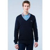 Pull Lacoste Homme Col V Noir Pures Couleurs Outlet Online