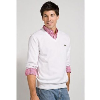 Pull Lacoste Homme Manches Longue Blanc Outlet France