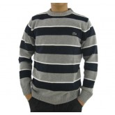 Pull Lacoste Homme Manches Longue Col rond Rayures Vente Privee