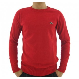 Pull Lacoste Homme Manches Longue Col rond Rouge Pures Couleurs Magasins