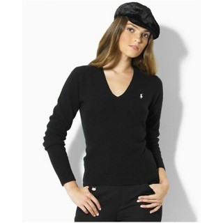 Pull Polo Femme Manches Longue Col V Pures Couleurs Magasin