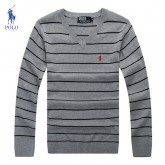 Pull Polo Ralph Lauren Homme Col V Gris Rayures Soldes Pas Cher