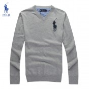 Pull Polo Homme Logos Col V Manches Longue En Solde