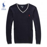 Pull Polo Homme Manches Longue Bleu Outlet France
