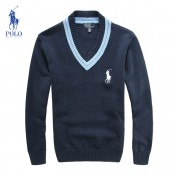 Pull Polo Homme Manches Longue Bleu Pures Couleurs Magasin Usine