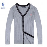 Gilet Polo Homme Col V Gris Pures Couleurs Outlet Paris