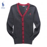 Gilet Polo Homme Pures Couleurs Manches Longue Col V Outlet