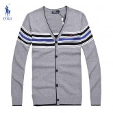 Gilet Polo Homme Col V Gris Outlet France