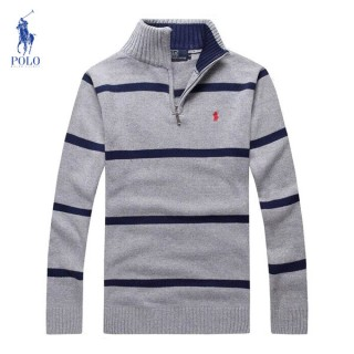 Pull Polo Homme Col montant Manches Longue Rayures Pas CheRe
