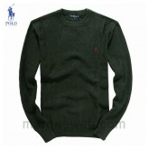 Pull Polo Homme Vert Col rond Manches Longue France
