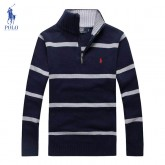 Pull Polo Ralph Lauren Homme Col montant Manches Longue Bleu Rayures Magasins