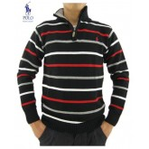Pull Polo Ralph Lauren Homme Col montant Manches Longue Rayures Noir Europe