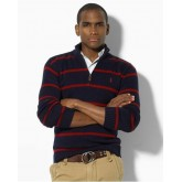 Pull Polo Ralph Lauren Homme Col montant Manches Longue Rayures Noir Acheter