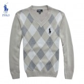 Pull Polo Ralph Lauren Homme Col V Gris Multicolor Boutique