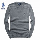 Pull Polo Homme Col V Manches Longue Gris Solde Pas Cher
