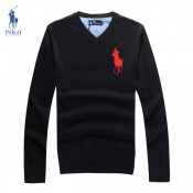 Pull Polo Homme Col V Manches Longue Logos Vente Pas Cher