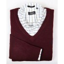 Pull Polo Homme Col V Manches Longue Pourpre Pas Chers