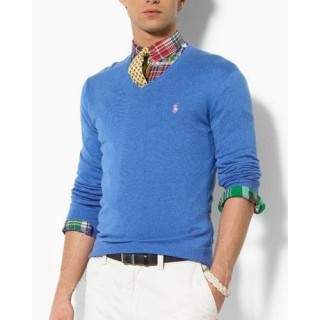 Pull Polo Homme Col V Manches Longue Pures Couleurs Bleu Achat Pas Cher