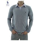 Pull Polo Homme Col V Pures Couleurs Soldes