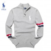 Pull Polo Homme Gris Manches Longue Logos Magasin