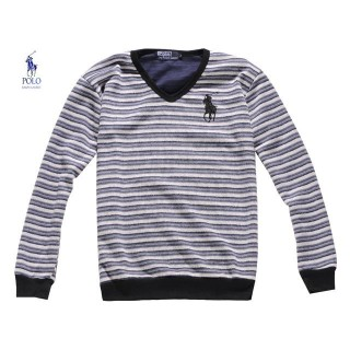 Pull Polo Ralph Lauren Homme Manches Longue Col V Gris Rayures Soldes Chez