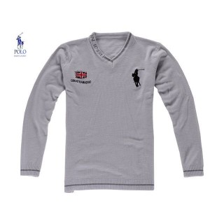 Pull Polo Ralph Lauren Homme Manches Longue Col V Logos Gris Boutique Lille
