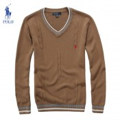 Pull Polo Homme Marron Pures Couleurs Col V Pas Chers