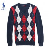 Pull Polo Homme Multicolor Rouge Manches Longue Col V France