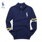 Pull Polo Ralph Lauren Homme Pures Couleurs Col montant Manches Longue Bleu Europe