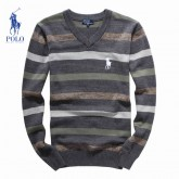 Pull Polo Homme Rayures Col V Manches Longue Solde