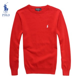 Pull Polo Homme Rouge Pures Couleurs Col rond Manches Longue Pas Cher