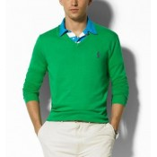 Pull Polo Homme Vert Pures Couleurs Solde Pas Cher
